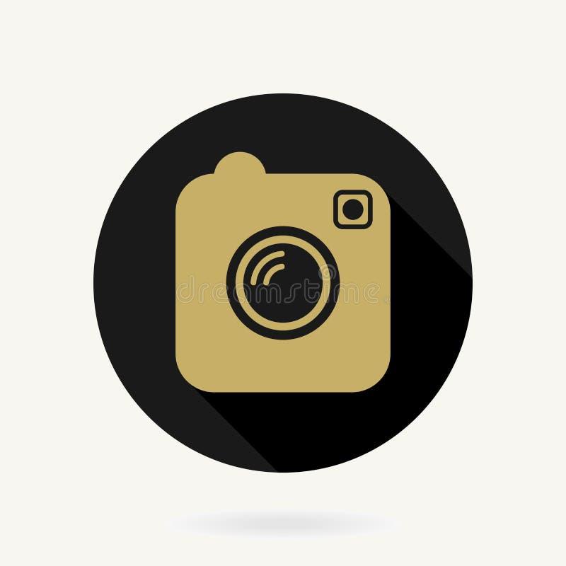 照相机与平的设计的传染媒介象 黑色和 向量例证