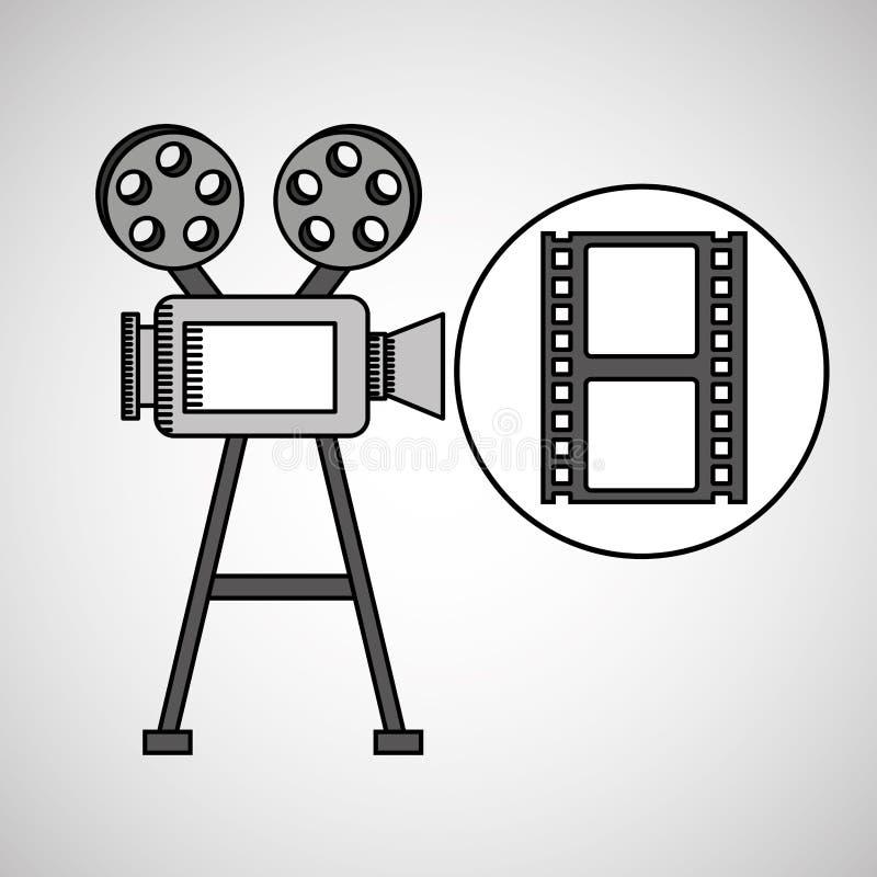 照相机与影片小条的影片葡萄酒 皇族释放例证
