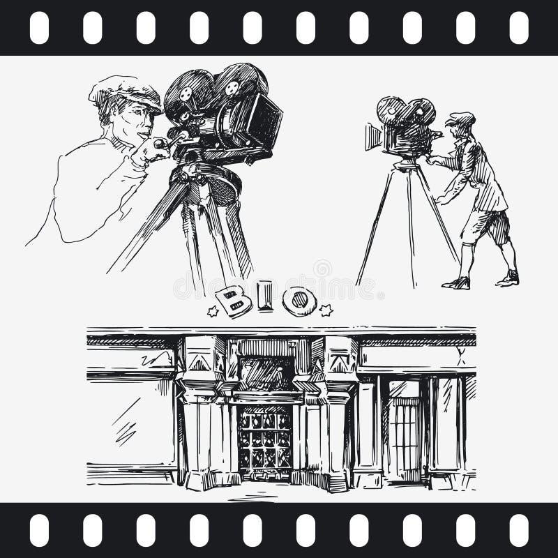 照相机人电影 库存例证