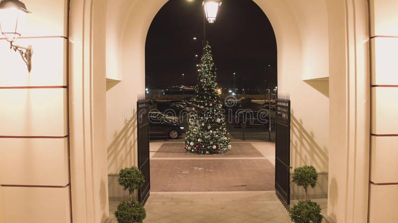 照相机从大厦出来并且得到离装饰的松树较近 免版税图库摄影