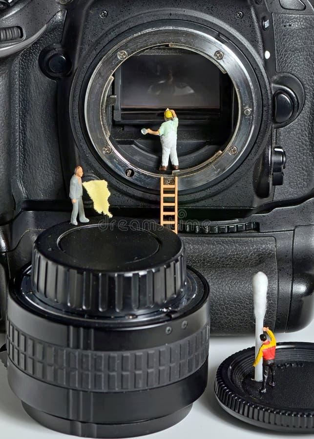 照相机传感器清洁 库存照片