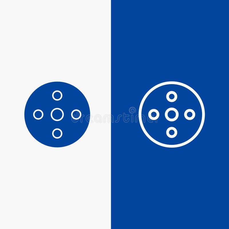 照相机卷轴、英尺长度、卷轴、存贮线和纵的沟纹坚实象蓝色旗和纵的沟纹坚实象蓝色横幅 皇族释放例证