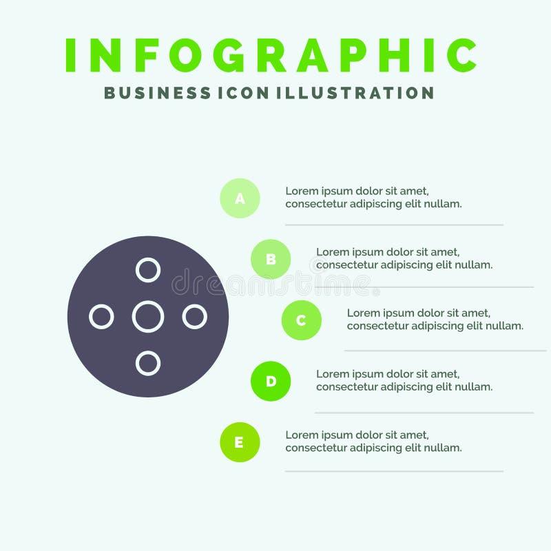 照相机卷轴,英尺长度,卷轴,存贮坚实象Infographics 5步介绍背景 皇族释放例证