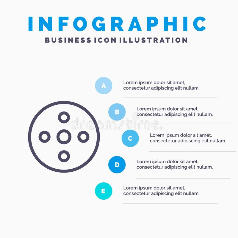 照相机卷轴,英尺长度,卷轴,存贮线象有5步介绍infographics背景 库存例证