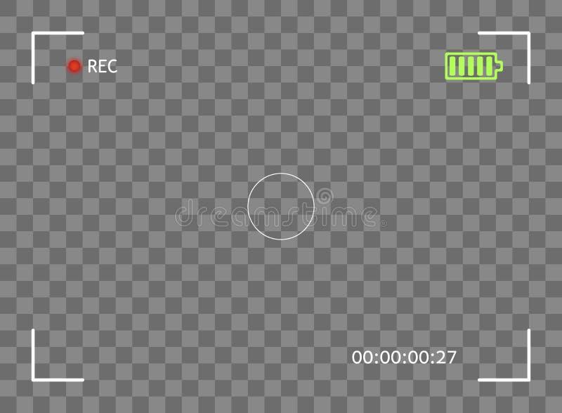 照相机反光镜,数字录影,照片焦点 元素传染媒介覆盖物银幕框架毗邻快照 透明的背景 库存例证