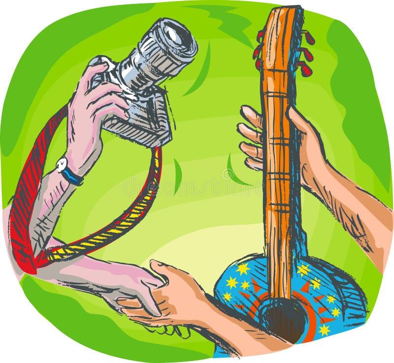 照相机吉他现有量交换 皇族释放例证