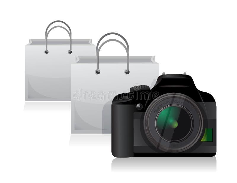 照相机和购物袋 向量例证