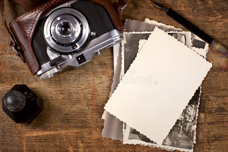 照相机墨水老笔照片葡萄酒 免版税库存图片