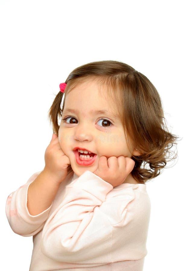 照相机女孩微笑的一点 图库摄影