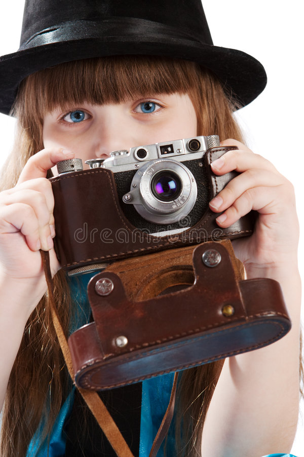 照相机女孩葡萄酒 免版税库存图片