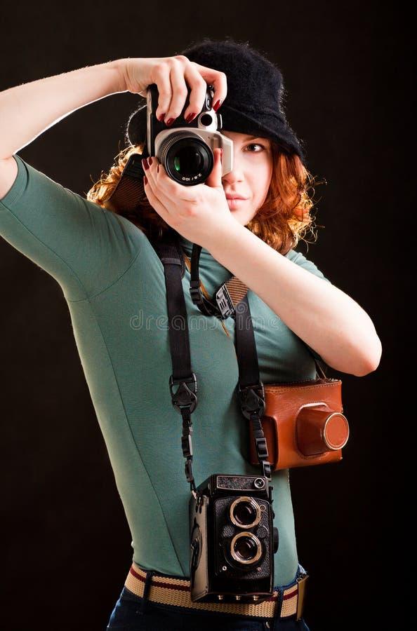 照相机女孩许多 免版税库存照片
