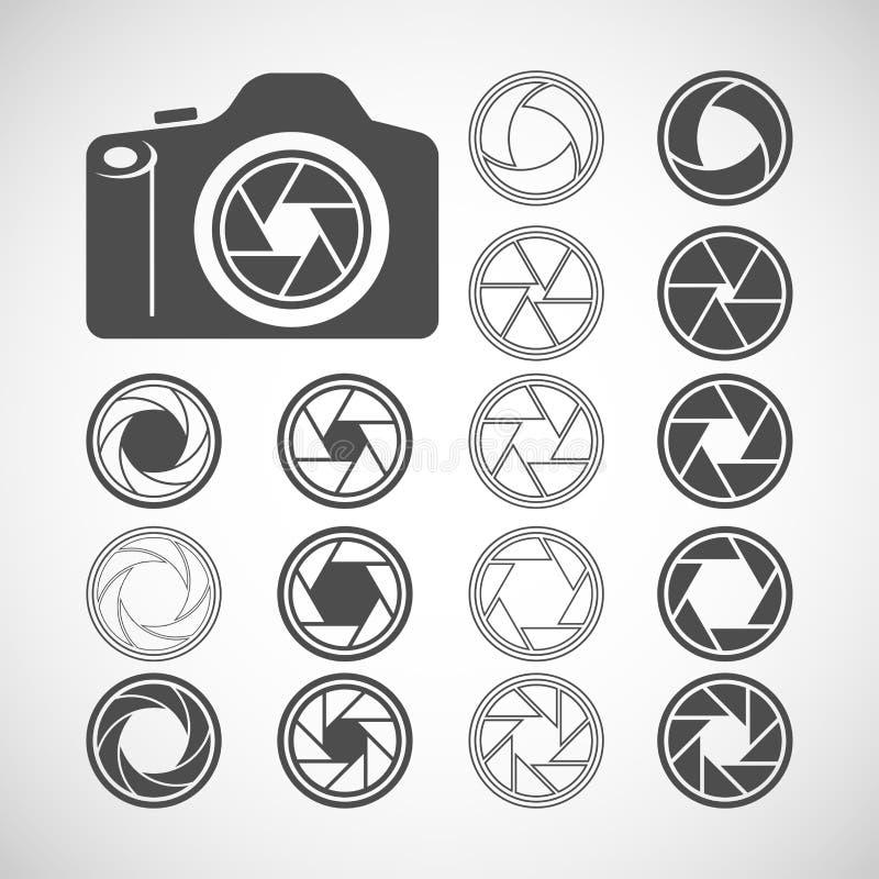 照相机快门象集合,传染媒介eps10 库存例证