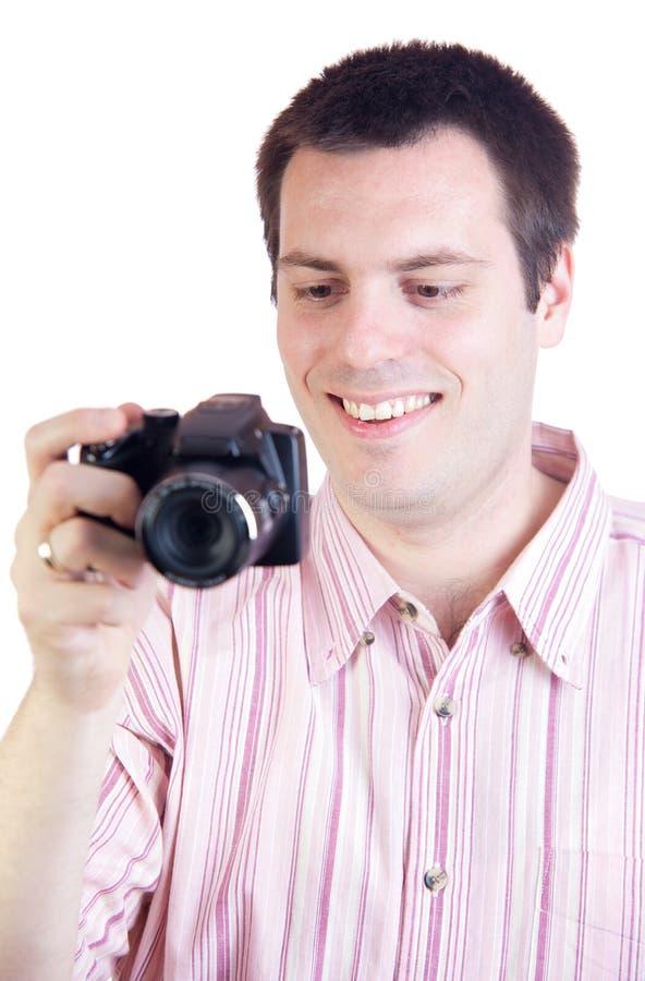 照相机数字式人年轻人 图库摄影