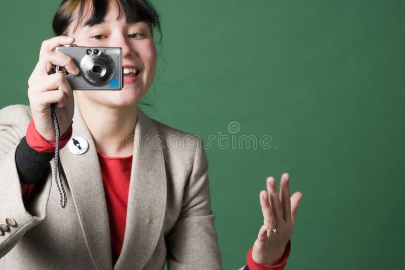 照相机数字式妇女年轻人 库存图片