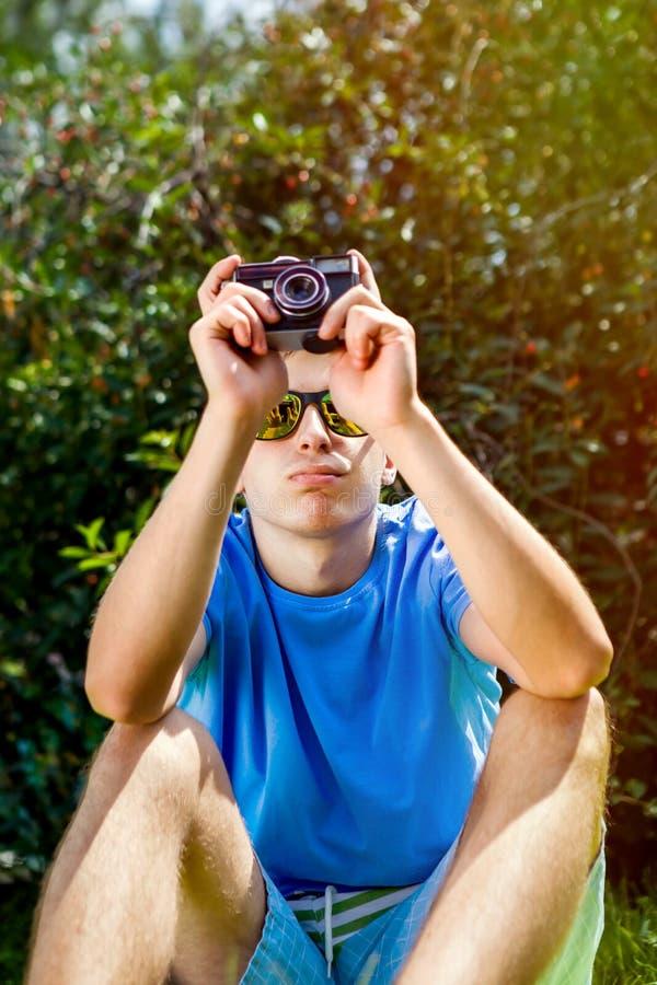 照相机查出的人空白年轻人 库存图片