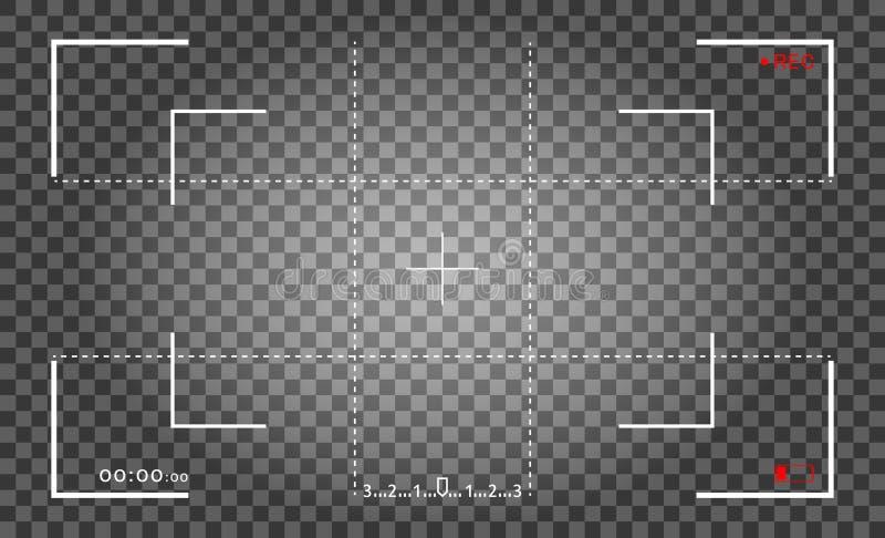 照相机框架反光镜屏幕 与照片照相机框架的录影机数字显示 聚焦的录影屏幕传染媒介 皇族释放例证