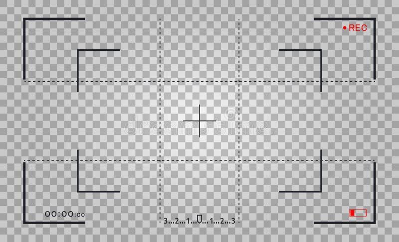 照相机框架反光镜屏幕 与照片照相机框架的录影机数字显示 聚焦的录影屏幕传染媒介 向量例证