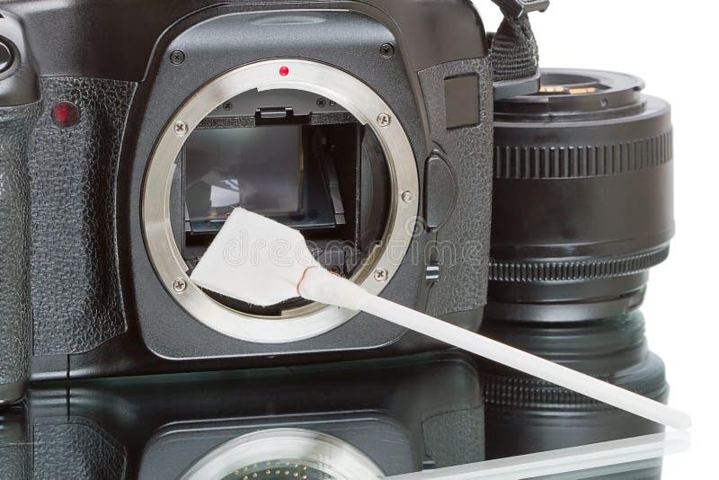 照相机清洁传感器 免版税库存照片