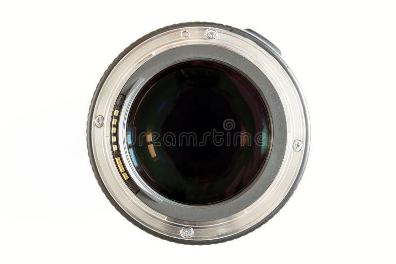 照相机照片在白色背景的透镜特写镜头与lense reflec 免版税库存照片