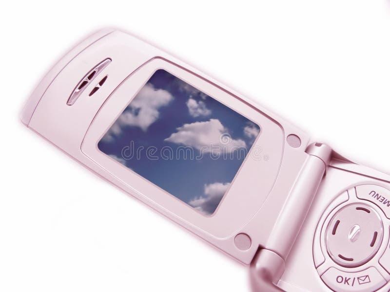 照相机特写镜头电话粉红色 免版税库存图片