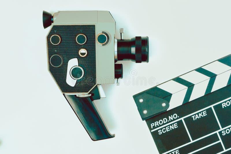 照相机老clapperboard电影 免版税库存照片