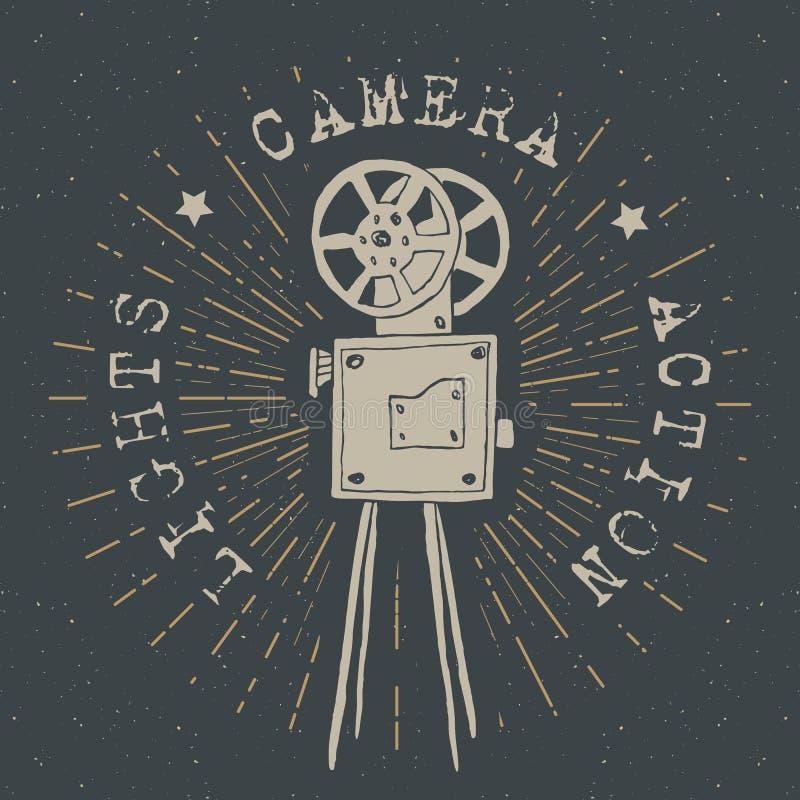 照相机葡萄酒标签,手拉的剪影,难看的东西构造了减速火箭的徽章,印刷术设计T恤杉印刷品,传染媒介例证 向量例证