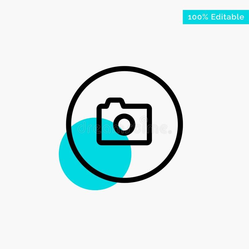 照相机,图象,基本,Ui绿松石聚焦圈子点传染媒介象 向量例证