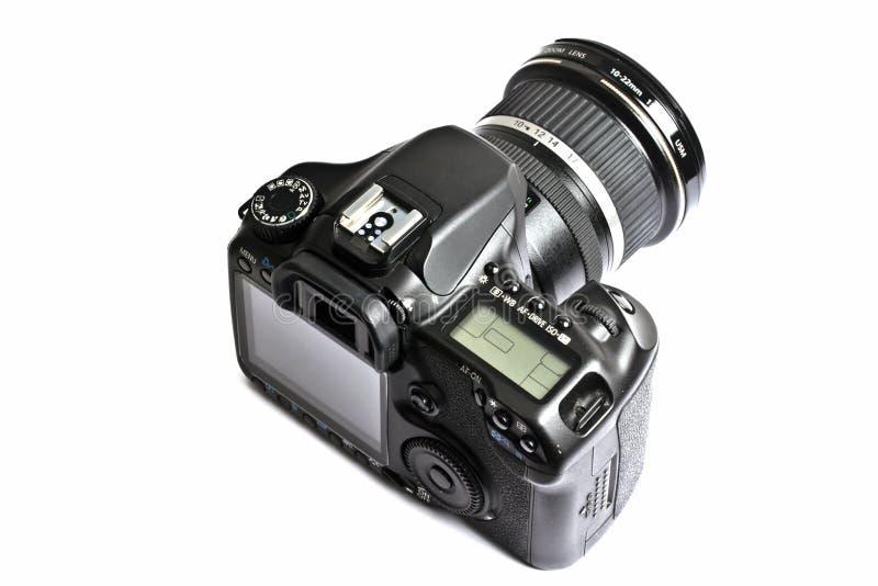 照相机dslr查出的白色 免版税库存照片