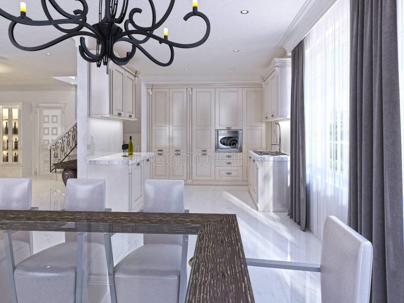 仿照艺术装饰样式的经典白色厨房用餐的室 向量例证