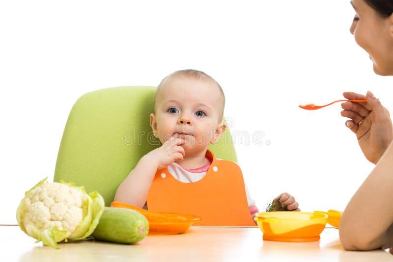 照顾喂养她的婴孩的匙子隔绝在白色 库存图片