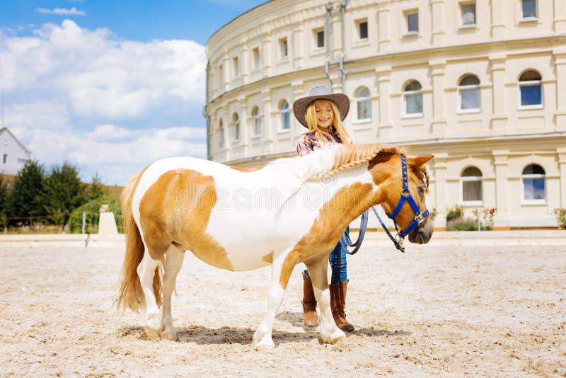 照顾她的小马的放光的美丽的牛仔女孩 库存图片