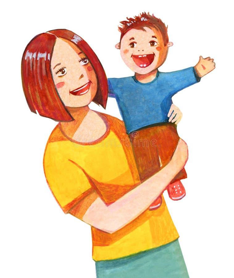 照顾拿着在她的手,微笑的两个上的男婴 风格化手拉的水彩例证 库存例证