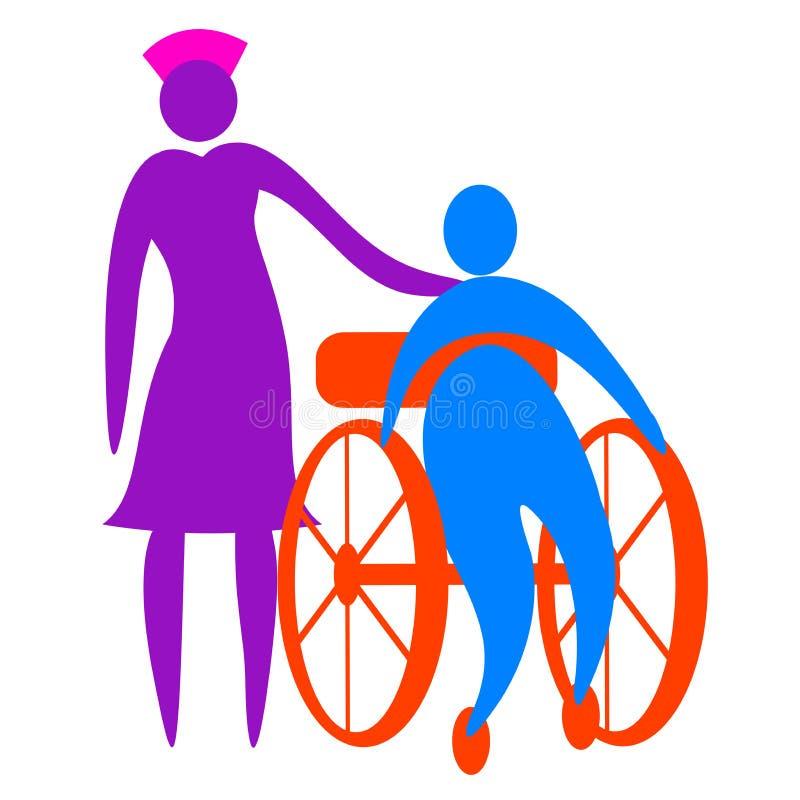 照顾残疾人的护士 向量例证