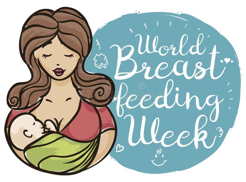 照顾运载她的刷子冲程样式的婴孩,庆祝哺乳的星期,传染媒介例证 向量例证