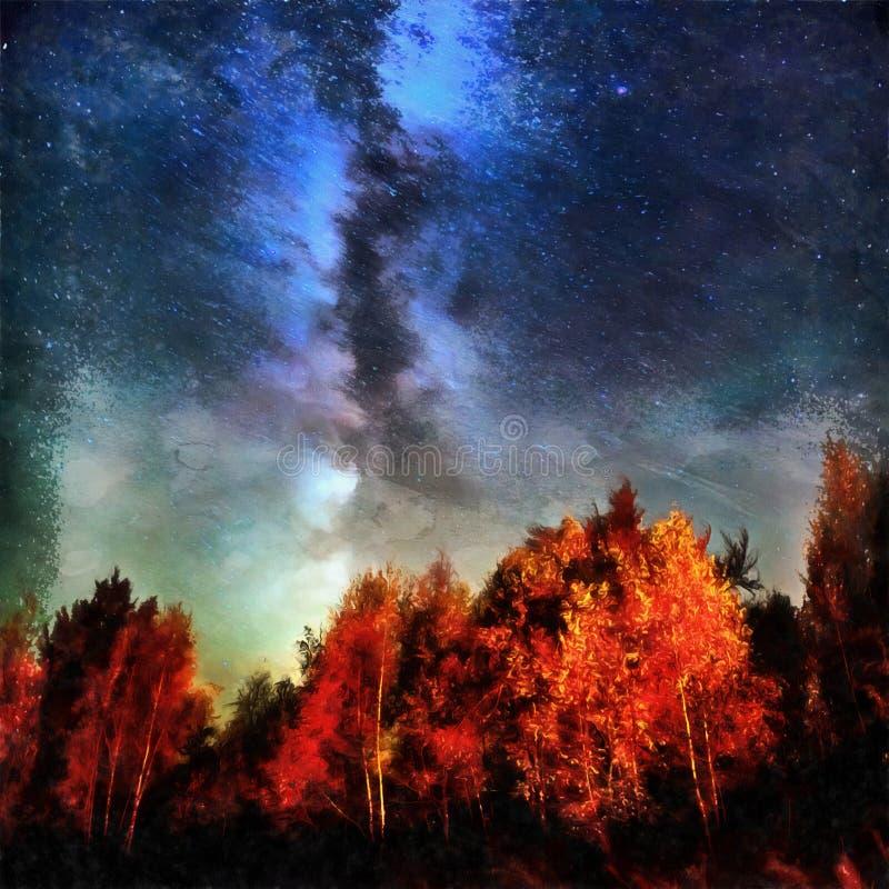 仿照水彩绘画样式的工作 深天空astropho 皇族释放例证