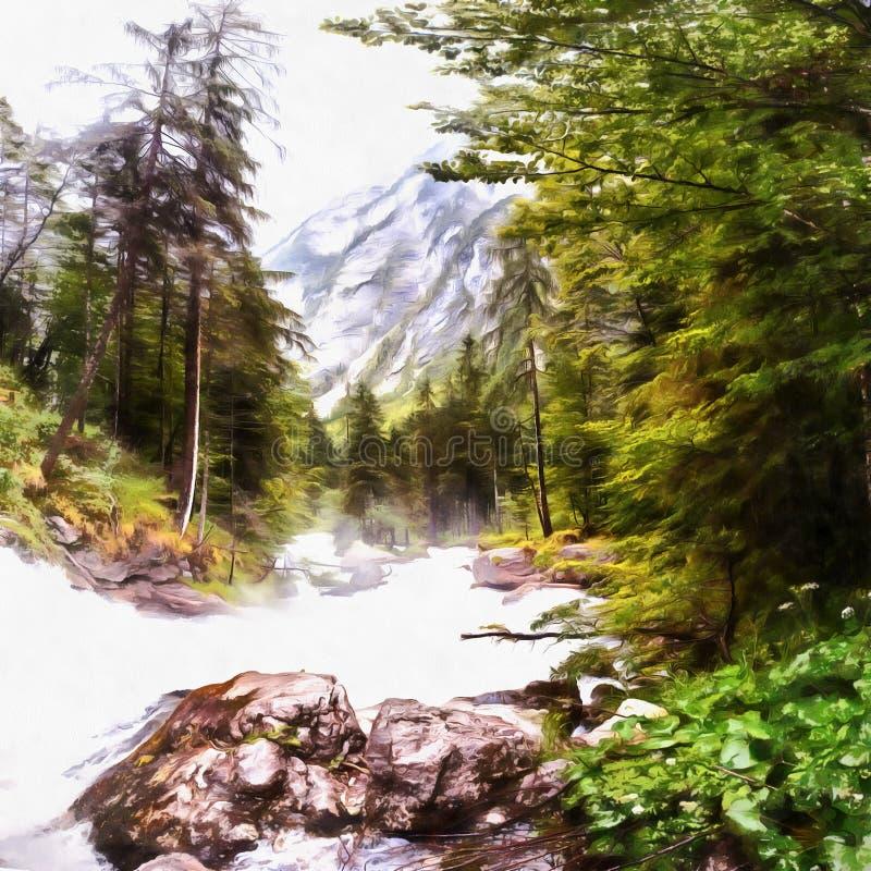 仿照水彩绘画样式的工作 的快速的河 向量例证