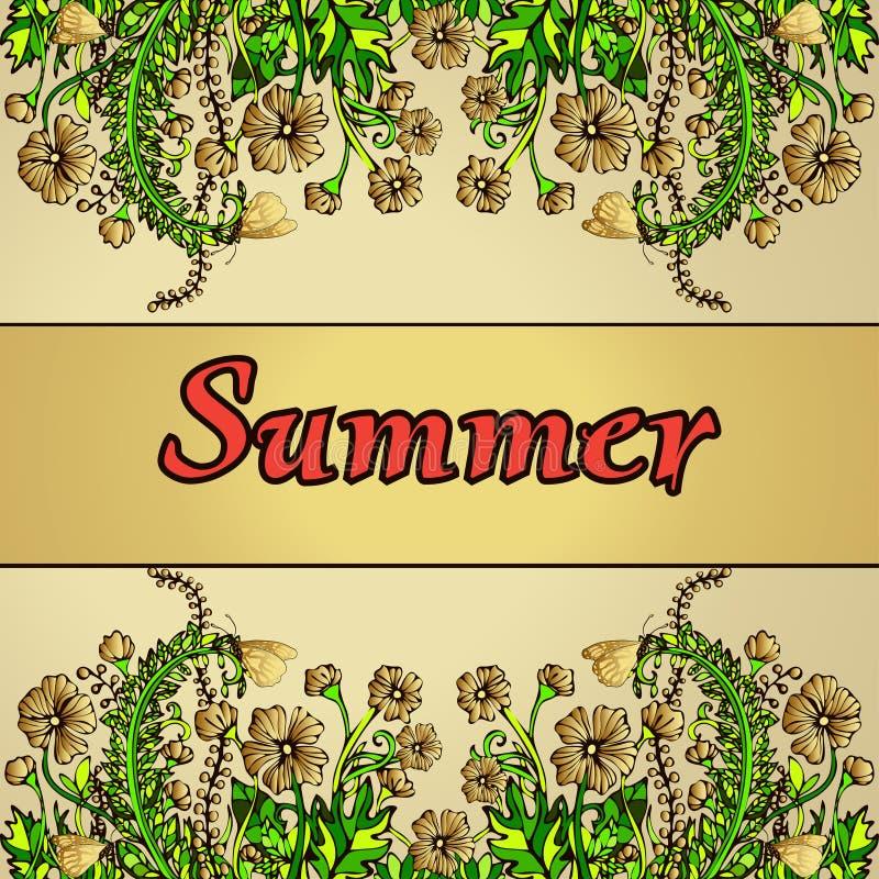 仿照boho别致,嬉皮,手图画,卡片,盖子样式的夏天抽象风景 向量例证