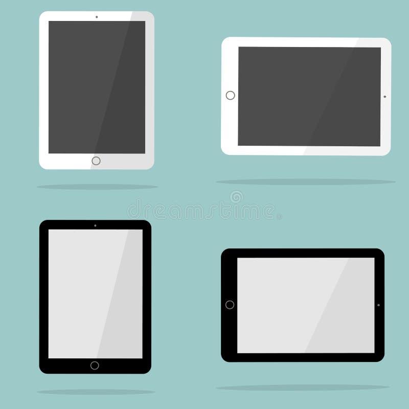 仿照ipad样式的白色和黑片剂 皇族释放例证