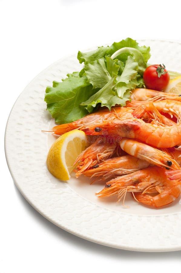 煮沸的沙拉虾 免版税库存图片