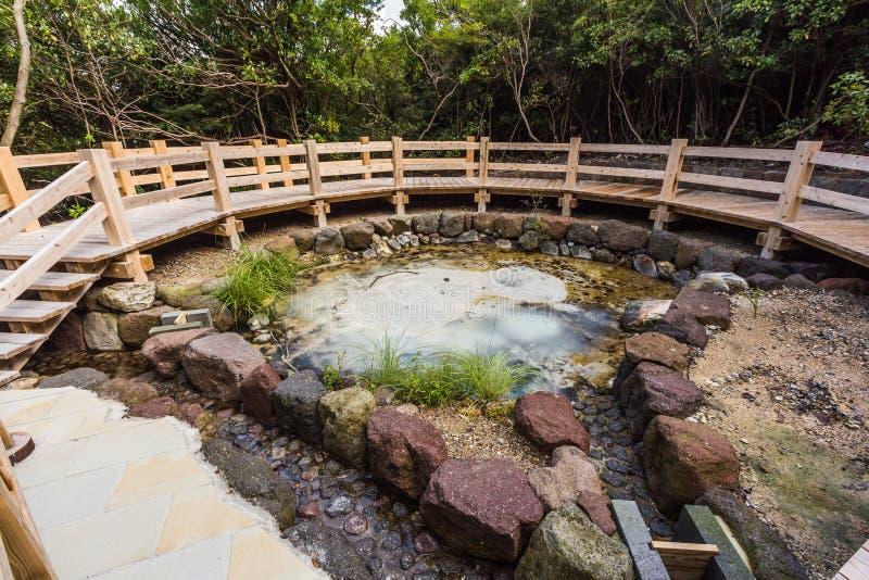 煮沸的泥在Unzen温泉站点 免版税图库摄影