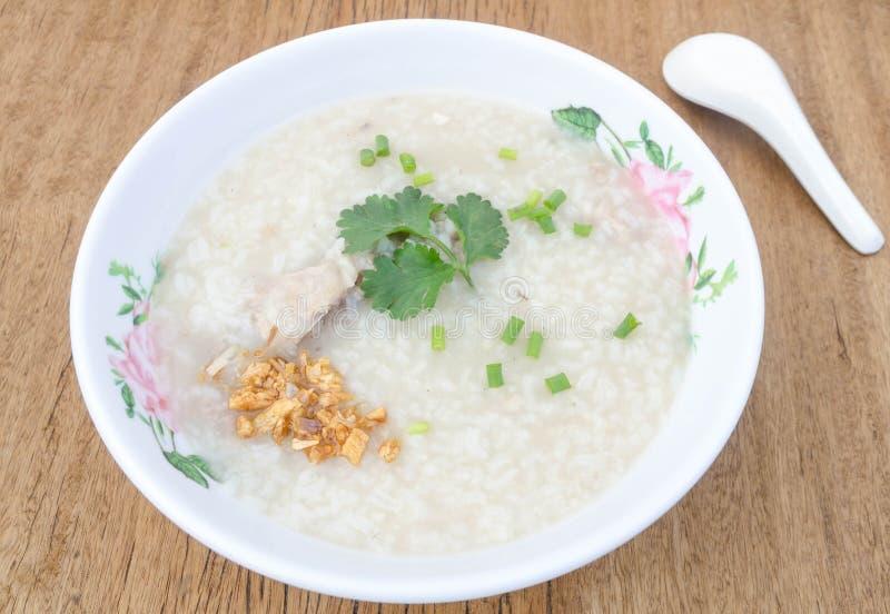 煮沸的米猪肉或软糊状食物泰国样式早餐 免版税库存图片