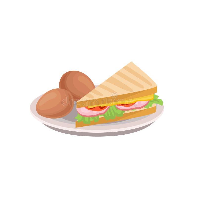 煮沸的鸡蛋和三角三明治用莴苣,切片香肠,新鲜的蕃茄和乳酪在板材 平的传染媒介象  皇族释放例证