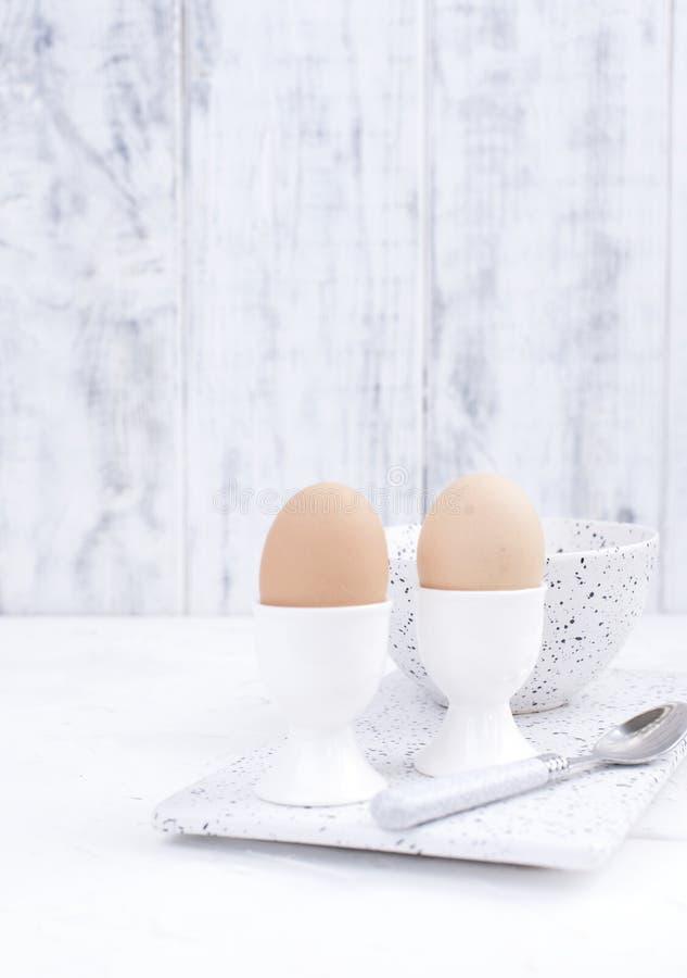煮沸的鸡蛋在一个白色盘的早餐在轻的背景 可口和健康文本的早餐自由空间 复制空间 免版税库存照片