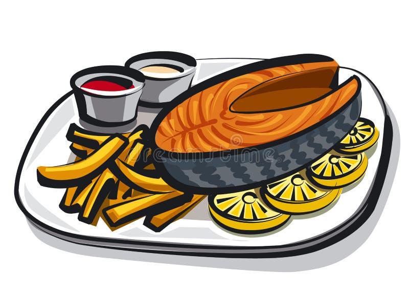 煮熟的油煎的三文鱼 向量例证
