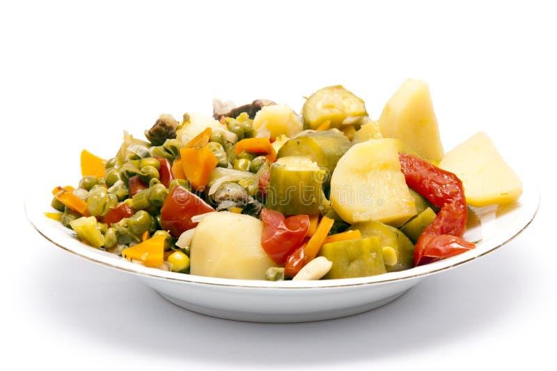 煮熟的炖煮的食物蔬菜 免版税库存照片