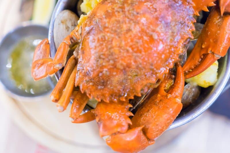 煮熟的煮沸的巨型螃蟹 库存照片