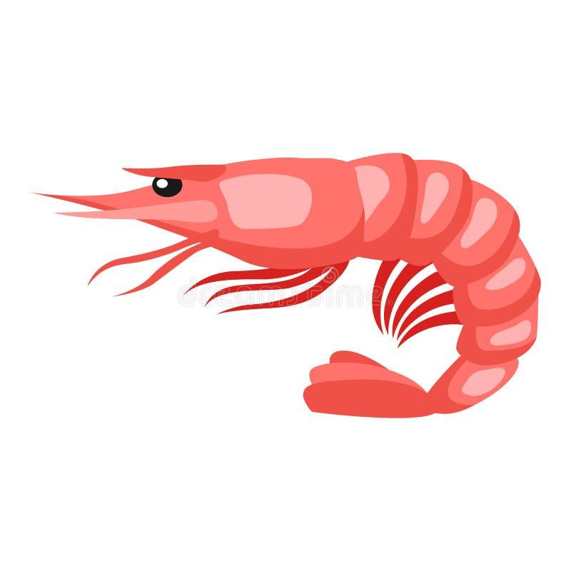 煮熟的老虎虾 海鲜的被隔绝的例证在白色背景的 向量例证