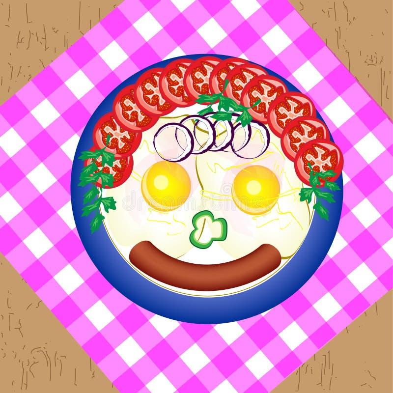 煮熟的荷包蛋用香肠、蕃茄、葱和草本 以一个微笑的人的形式,盘被做 向量例证