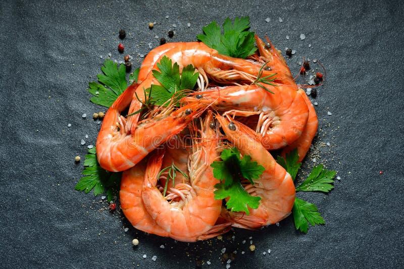 煮熟的虾,大虾 免版税库存照片