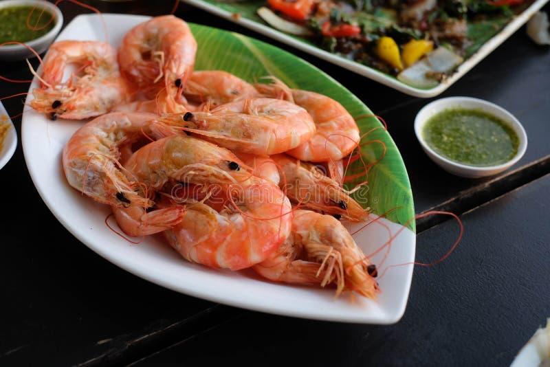 煮熟的虾/食物 免版税库存照片